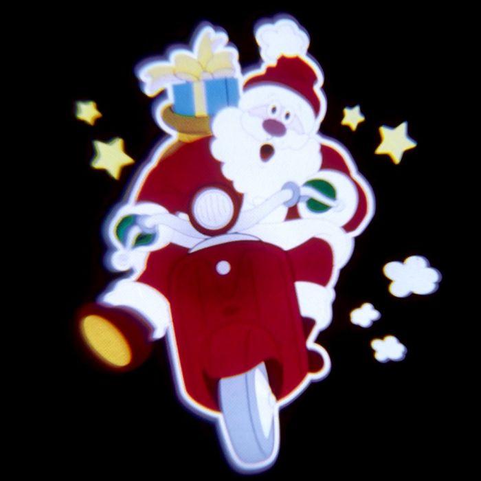 Babbo Natale Musicale.Proiettore Led Color Musicale Animato Babbo Natale In Corsa Su Scooter Rosso