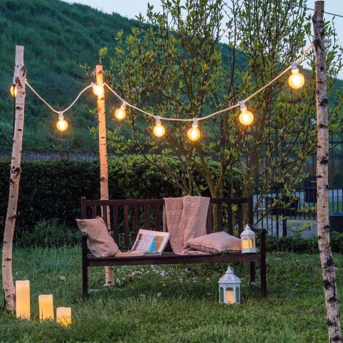 Vie Giardino Terrazza Illuminazione Lampada a sfera 60 cm esterno bar Lampade Bianco
