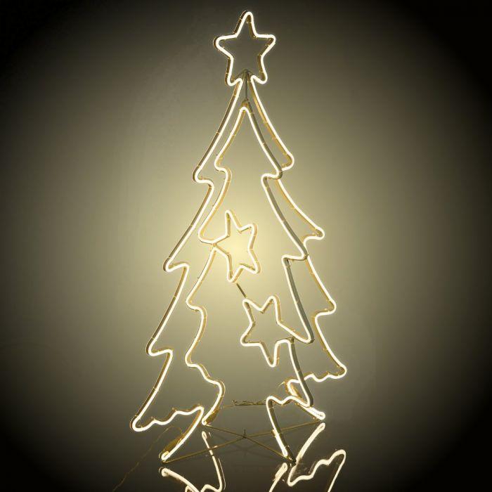 Decorazioni Natalizie A Led.Albero Di Natale Luminoso 2d 3d H 115 Cm Neon Bifacciale Led