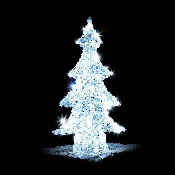 Decorazioni Natalizie A Led.Albero Di Natale Crystal 120 Led Flashled Diamond Bianco Ghiaccio