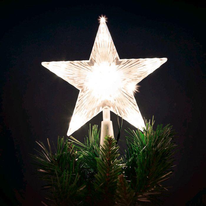 Puntale A Stella Per Albero Di Natale.Puntale A Stella Per Albero Di Natale 10 Led A Batteria On Off Flashing Bianco Classic