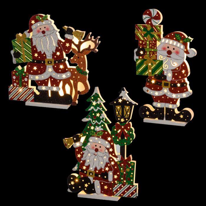 Immagini Natale Glitter.Mix 3 Babbo Natale Glitter A Batteria Con 10 Led Classic H 45 Cm Bianco Caldo