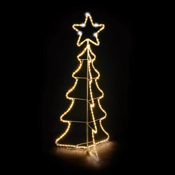 Stella Albero Di Natale Luminosa.Albero Di Natale 3d In Tubo Luminoso O10mm 216 Led Con Stella Flashled Bianco Classic