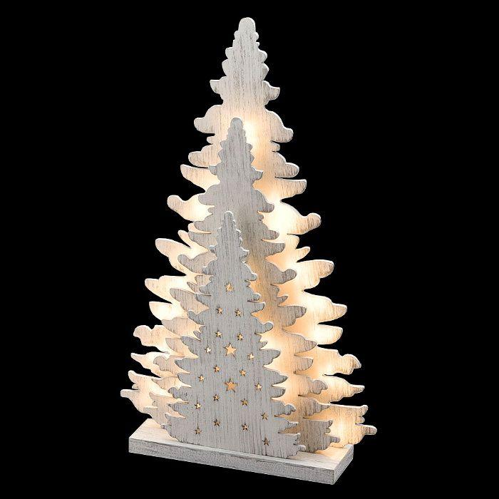 Albero Di Natale Luci Led.Albero Di Natale Triplo In Legno Vintage Bianco A Batteria 20 Led Luce Fissa Bianco Classic