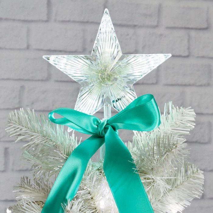 Stella Di Natale A Batteria.Puntale A Stella Per Albero Di Natale 10 Led A Batteria On Off