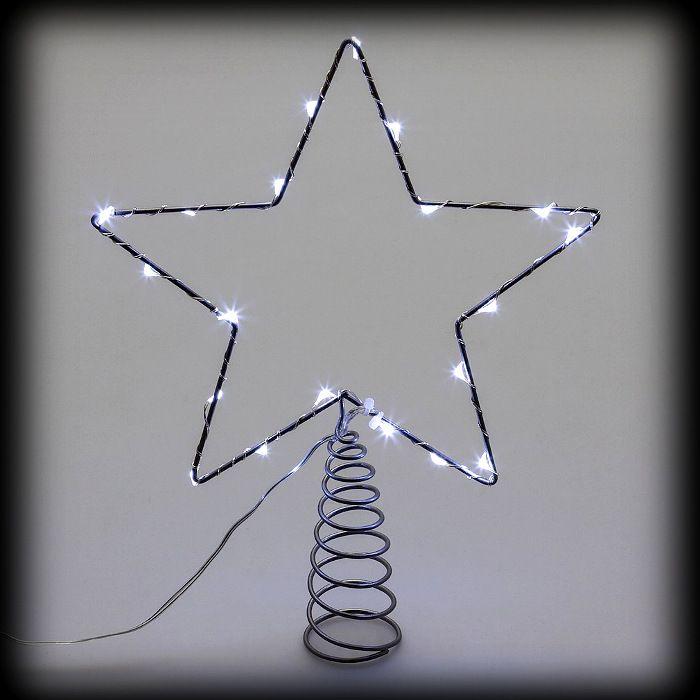 Stella Di Natale Luce.Puntale A Stella Per Albero Di Natale Metal Frame 20 Microled Luce Fissa Bianco Ghiaccio