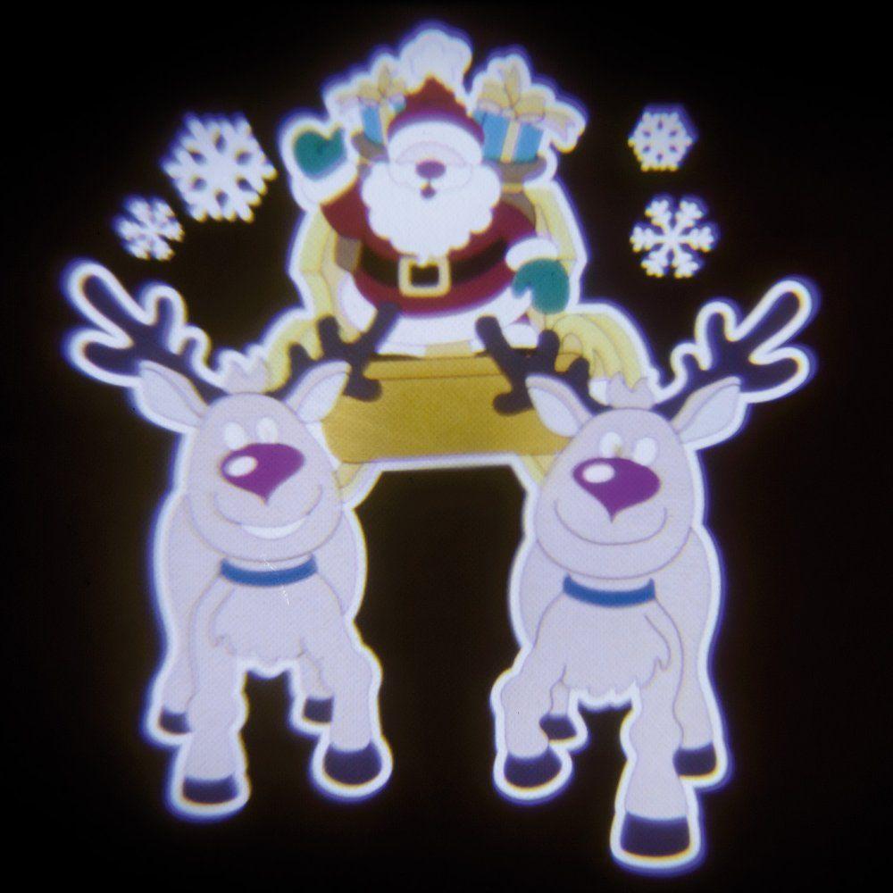 Proiettore Led Color Musicale Figura Animata Babbo Natale Su Slitta