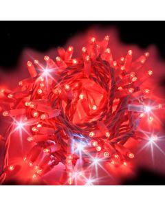 Catena 10 m - 200 maxiled rossi Flashled Diamond  - SENZA alimentazione - prolungabile - cavo bianco