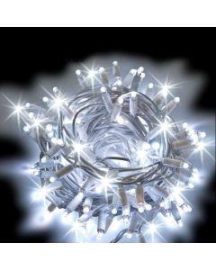 Catena 10 m - 200 maxiled Flashled diamond - SENZA alimentazione - prolungabile - cavo bianco - Bianco Ghiaccio