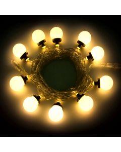 Catena 5 m - 10 lampadine maxiled - SENZA alimentazione - prolungabile - Bianco Classic