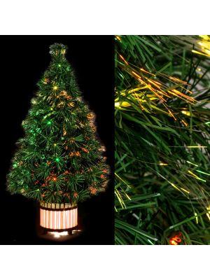 albero fibre ottiche multicolor vaso illuminato h 90 cm