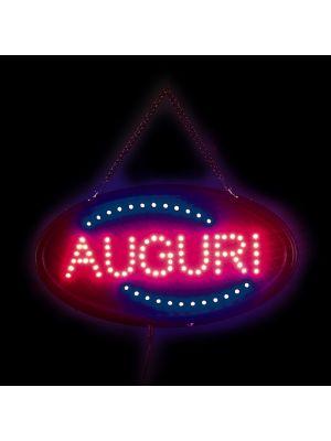 Insegna natalizia luminosa Auguri 100 led 40 x H 18 cm giochi di luce blu e rosso led reflex