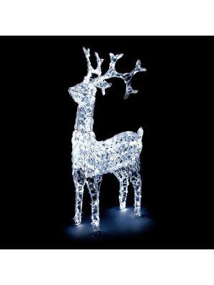 Renna natalizia led con testa rotante - 200 led - luce fissa - bianco ghiaccio - h 90cm