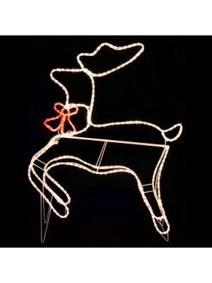 Decorazione luminosa renna con fiocco che corre