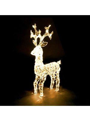 Renna di Natale 100 led - luce fissa - bianco classic - h 70 cm