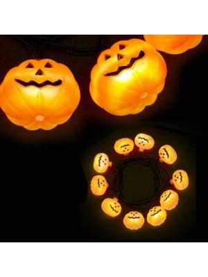 Catena luminosa 10 zucche halloween a batteria luce fissa - led bianco ghiaccio