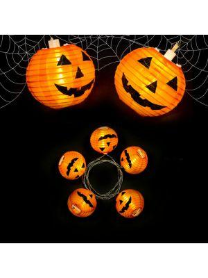 Catena luminosa 5 lanterne di carta Zucca Halloween - luce fissa - bianco classic