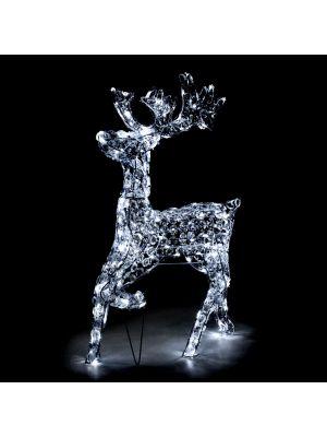 Renna galoppante h85 cm in cristalli di acrilico 200 led - luce fissa - bianco freddo