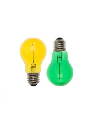 Set 2 lampadine ricambio E27 goccia A60 36V - filament led giallo e verde
