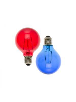 Set 2 lampadine ricambio E27 globo G80 36V - filament rosso e blu