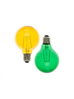 Set 2 lampadine ricambio E27 globo G80 36V - filament led giallo e verde