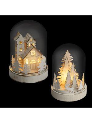 Mix 2 decorazioni con cupola in vetro a batteria h 18 cm - bianco classic caldo