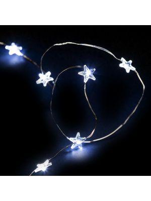 Catena luminosa 1,90 m a batteria 20 stelline microled - luce fissa e flashing - bianco ghiaccio