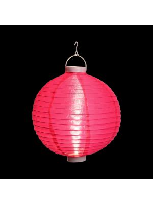 Lanterna party a batteria ø 30 cm in tessuto rosa - bianco classic