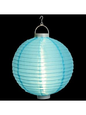 Lanterna party a batteria ø 40 cm in tessuto blu - bianco classic