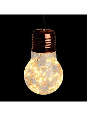 Lampadina a goccia di vetro e metallo color rame - Ø14cm - 40 microled - bianco classic