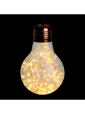 Lampadina a goccia di vetro e metallo color rame - Ø21,5cm - 100 microled - bianco classic