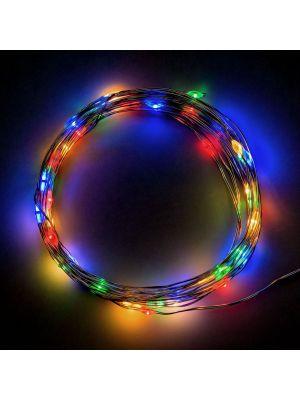 Catena a batteria 40 microled 4,00 m - luce fissa - cavo metal - multicolor