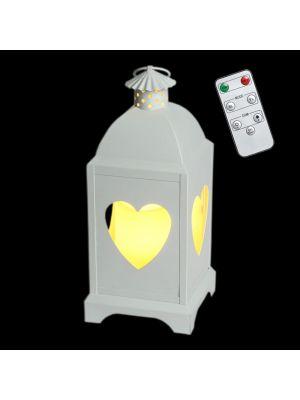 Lanterna a batteria in metallo bianco traforato decoro cuori h 29 cm - telecomando e timer - bianco caldo