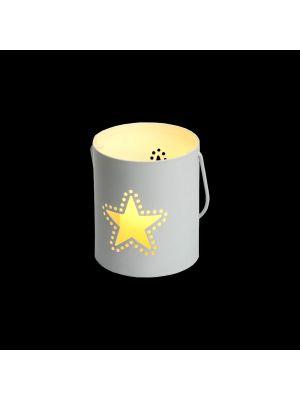 Secchiello Billy porta candela a batteria con decoro traforato stella h 9 cm - bianco caldo