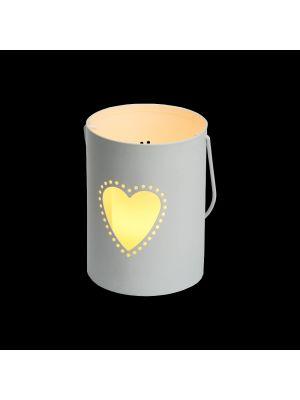 Secchiello Billy porta candela a batteria con decoro traforato cuore h 12 cm - bianco caldo