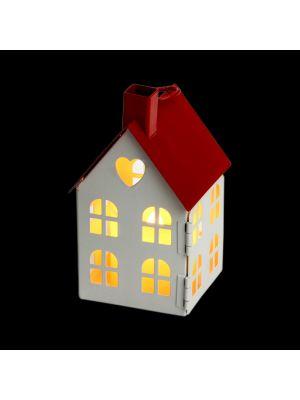 Casetta porta candela a batteria con finestre h 12,5 cm - bianco caldo