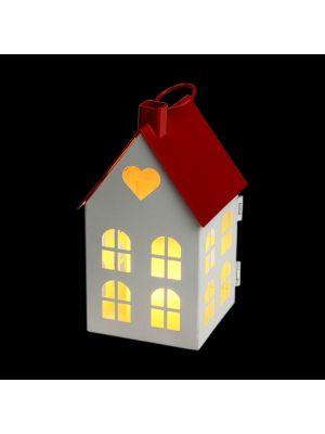 Casetta porta candela a batteria con finestre h 16,5 cm - bianco caldo