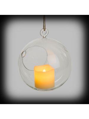 Sfera di vetro con candela led effetto fiamma - Ø13,5 - bianco classic