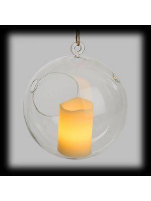 Sfera di vetro con candela led effetto fiamma - Ø16 - bianco classic