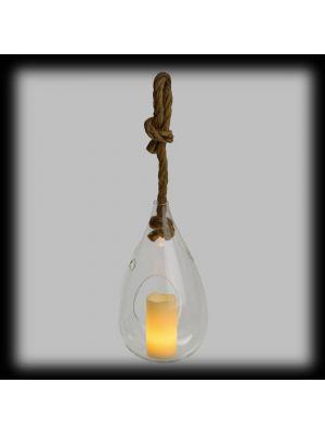 Goccia di vetro con candela led effetto fiamma - bianco classic - timer 6h
