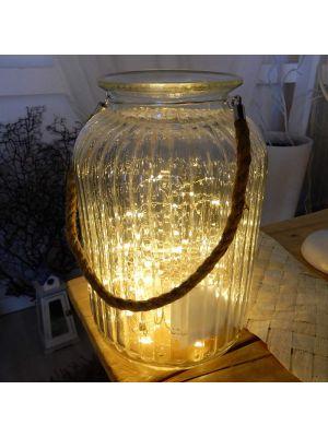 Vaso di vetro Athena con manico in corda naturale - 120 microled - bianco classic