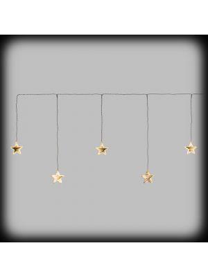 Tendina Ice light 120xh50 cm con 5 stelle mirror ø80mm - luce fissa bianco caldo