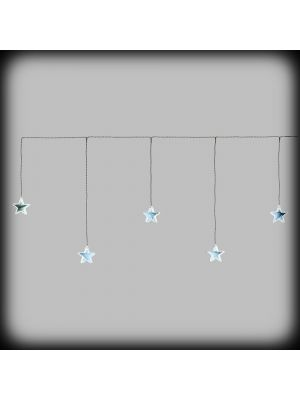 Tendina Ice light 120xh50 cm con 5 stelle mirror ø80mm - luce fissa bianco freddo