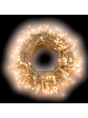 Catena 12,60 m cavo trasparente - 180 miniled a luce fissa - bianco classic