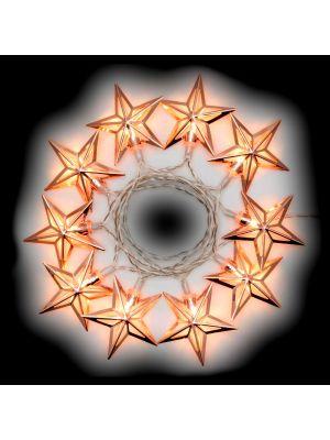 Catena a batteria 1,35 m 10 stelle luce fissa o flashing - bianco caldo