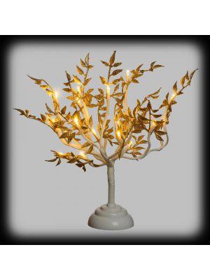 Alberello luminoso a batteria con foglie glitter h 40 cm - 20 miniled reflex - bianco classic