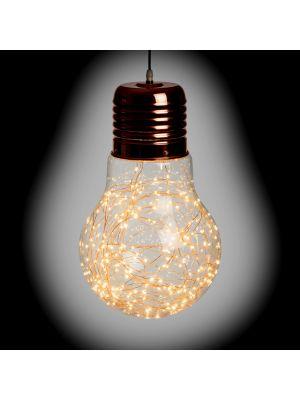Lampadina a goccia di vetro e metallo color rame - Ø30cm - 200 microled - bianco classic