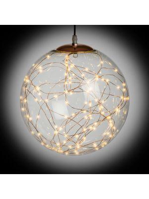 Lampada sferica da sospensione - vetro e metallo color rame - Ø30cm - bianco caldo