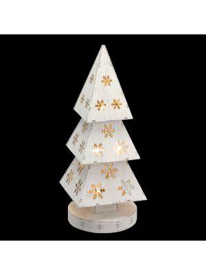 Albero piramidale in legno Vintage bianco a batteria 10 led luce fissa bianco classic vetrina