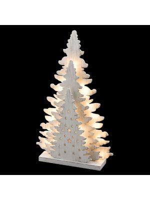 Albero di natale triplo in legno Vintage bianco a batteria 20 led luce fissa bianco classic vetrina